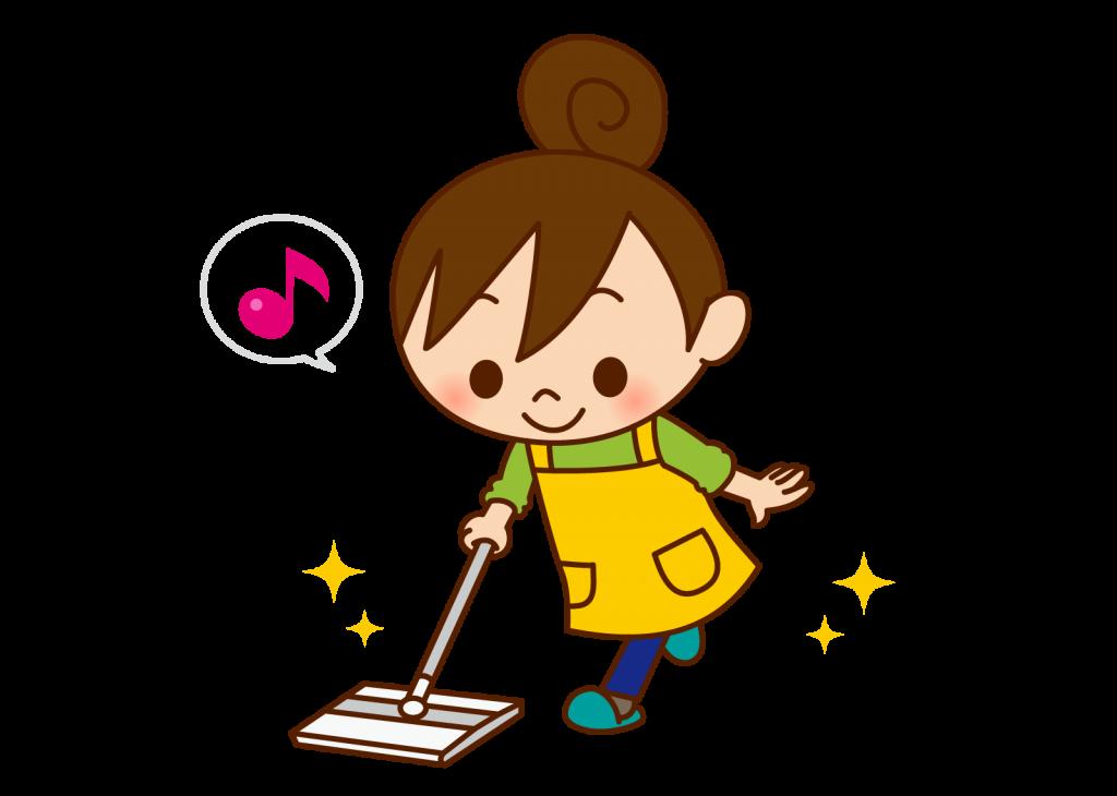 床を掃除する人