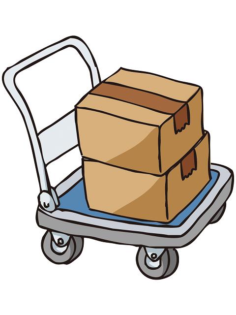 台車とダンボール箱