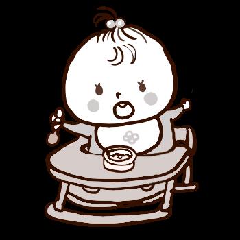 椅子に座って離乳食を食べる赤ちゃん