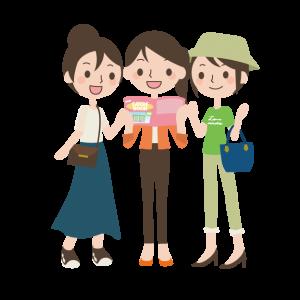 パンフレットを見る女性グループ