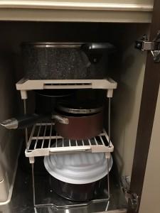 コの字ラックで調理器具収納