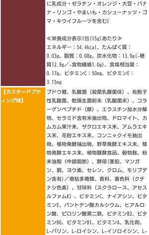 TOKYOスイーツダイエットの成分表